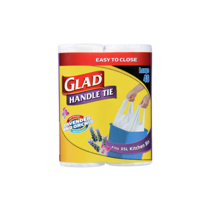 Glad® Handle Tie® Bags  Twin Large Lavender 40pk